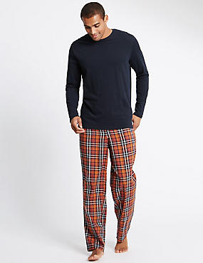 Pure Cotton Orange Checked Navy T-Shirt & Trouser Set