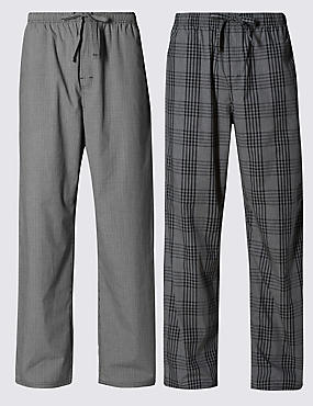 2 Pack Pure Cotton Checked Pyjama Bottoms