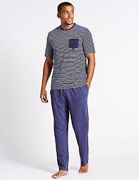 2in Longer Pure Cotton Striped Pyjamas