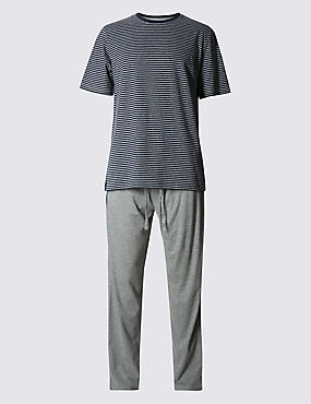 Pure Cotton Stay Soft Striped T-Shirt with Pyjamas