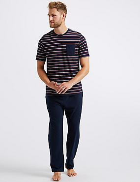 Pure Cotton Striped Pyjama Set, NAVY MIX, catlanding