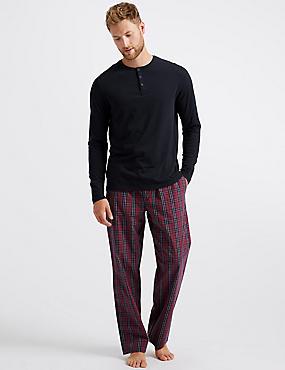 Pure Cotton Checked Pyjama Set, RASPBERRY MIX, catlanding