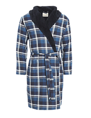 Pure Cotton Hooded Winceytte Checked Dressing Gown Clothing
