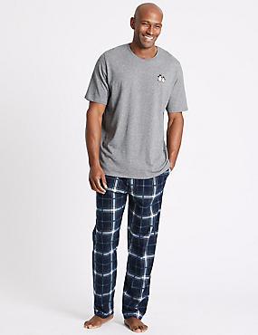 Penguin Print Pyjama Set, GREY, catlanding