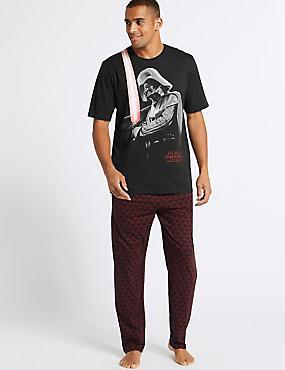 Pure Cotton Printed Pyjama Set, BLACK, catlanding