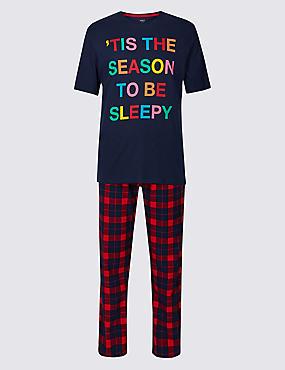 Printed Pyjama Set, NAVY MIX, catlanding
