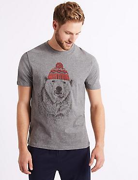 Pure Cotton Polar Bear Print Pyjama Top , GREY MIX, catlanding