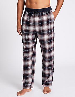 Pure Cotton Checked Long Pyjama Bottoms, BURGUNDY MIX, catlanding