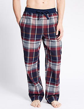 Pure Cotton Stay Soft Checked Pyjama Bottoms