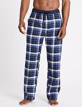 Pure Cotton Checked Long Pyjama Bottoms , DENIM MIX, catlanding