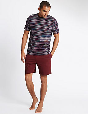 Pure Cotton Striped T-Shirt & Short Set