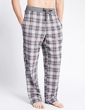 Pure Cotton Stay Soft Herringbone Checked Pyjama Bottoms