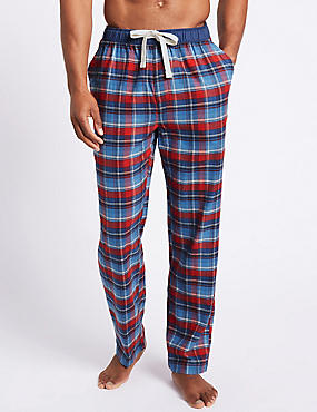 Pure Cotton Checked Long Pyjama Bottoms, ECRU MIX, catlanding