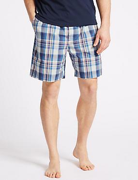 Pure Cotton Checked Shorts, BLUE MIX, catlanding