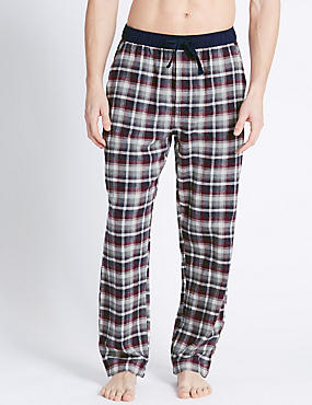 Brushed Cotton Checked Long Pant