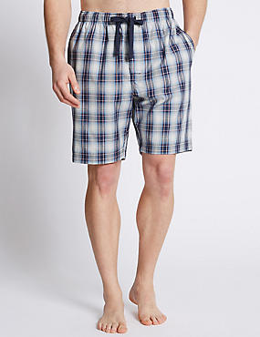 Pure Cotton Checked Pyjama Shorts