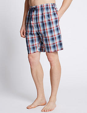 Pure Cotton Checked Stay Soft Pyjama Shorts