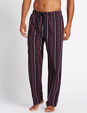Pure Cotton Striped Long Pyjama Bottoms