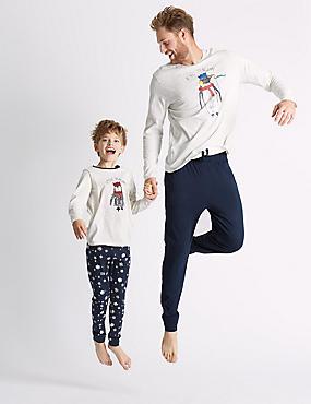 King Penguin Print Pyjama Set, GREY MIX, catlanding