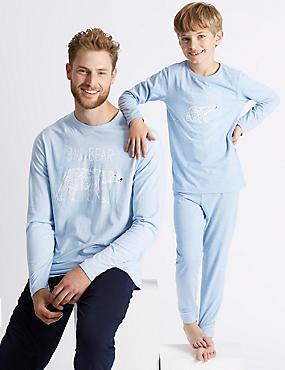 Mens Big Bear Print Pyjama Set, BLUE MIX, catlanding
