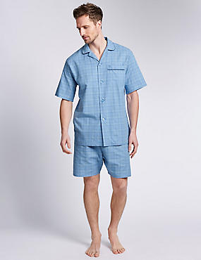 Pure Cotton Prince of Wales Checked Short Pyjamas