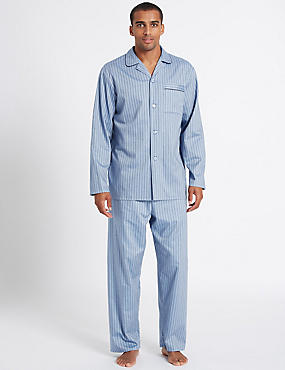 2in Longer Pure Cotton Striped Pyjama Set