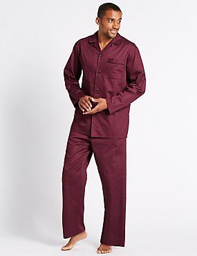Pure Cotton Ditsy Print Pyjama Set, WINE, catlanding
