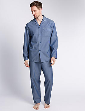 Pure Cotton Herringbone Pyjama Set