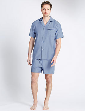 Pure Cotton Herringbone Short Pyjamas