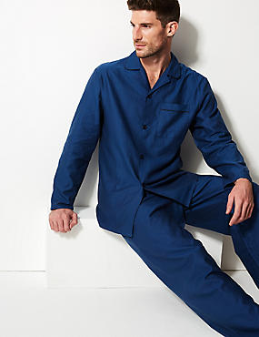 Pure Cotton Textured Pyjama Set, BLUE MIX, catlanding