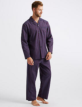 Pure Cotton Striped Pyjama Set , BERRY, catlanding