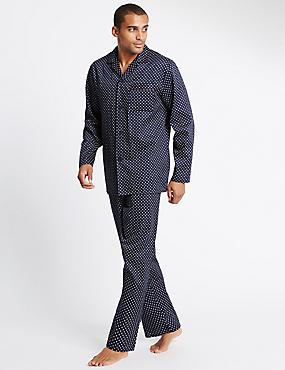 2in Longer Pure Cotton Printed Pyjama Set, NAVY MIX, catlanding