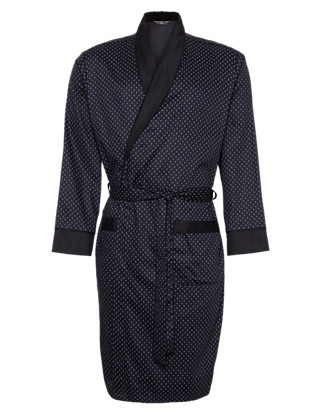 Pure Cotton Spotted Dressing Gown Clothing