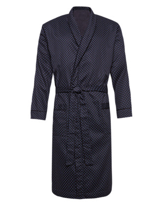 Pure Cotton Spotted Dressing Gown with Towelling Lining Clothing