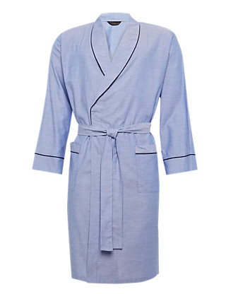 Pure Cotton Lightweight Oxford Dressing Gown Clothing