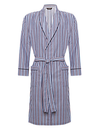 Pure Cotton Lightweight Winceyette Striped Dressing Gown Clothing