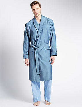 Pure Cotton Herringbone Striped Belted Dressing Gown