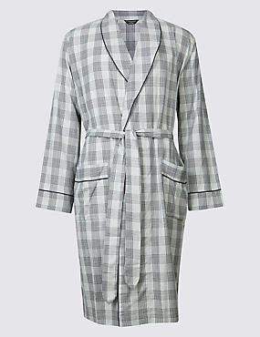 Supima® Cotton Slim Fit Dressing Gown, GREY MIX, catlanding