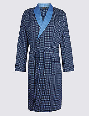 Pure Cotton Spotted Dressing Gown with Belt, BLUE MIX, catlanding