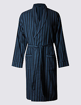 Brushed Cotton Striped Dressing Gown