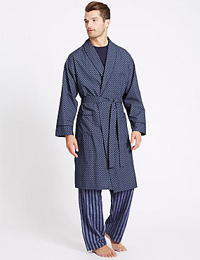 Cotton Blend Printed Dressing Gown with Belt, NAVY MIX, catlanding