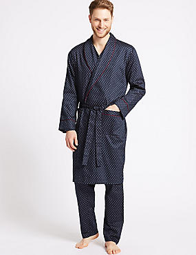 Pure Cotton Printed Dressing Gown with Belt, NAVY MIX, catlanding