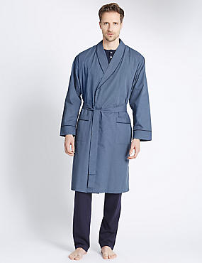 Mini-checked Dressing Gown with Belt