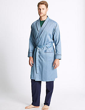 Pure Cotton Striped Dressing Gown with Belt