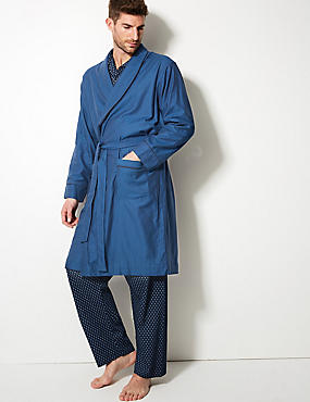 Pure Cotton Striped Dressing Gown, BLUE MIX, catlanding