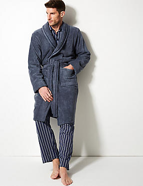 Cotton Rich Long Sleeve Dressing Gown with Belt