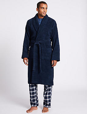 Pure Cotton Dressing Gown , NAVY, catlanding