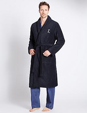 Super Soft Cotton Personalised Alphabet L Gown, NAVY, catlanding