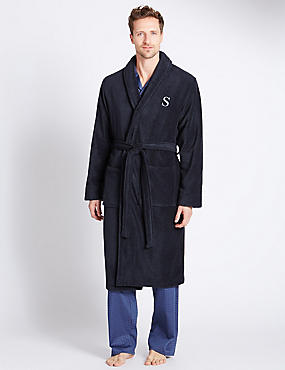Super Soft Cotton Personalised Alphabet S Gown, NAVY, catlanding