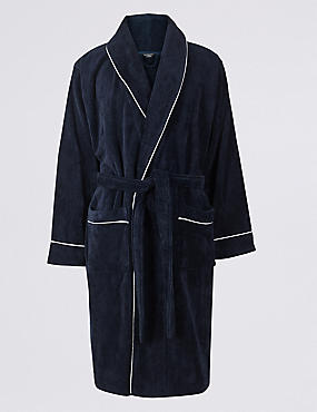 Pure Cotton Dressing Gown, NAVY, catlanding